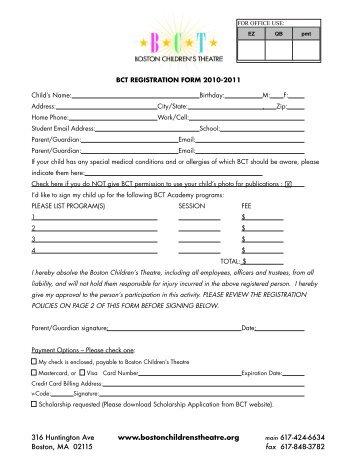 BCT Registration - Boston Children's Theatre