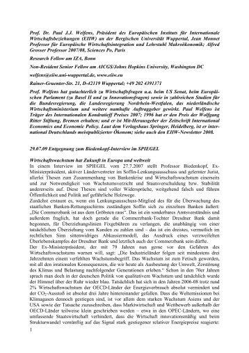 1 Prof. Dr. Paul J.J. Welfens, Präsident des Europäischen ... - EIIW