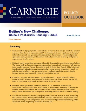China's Post-Crisis Housing Bubble - Carnegie Endowment for ...