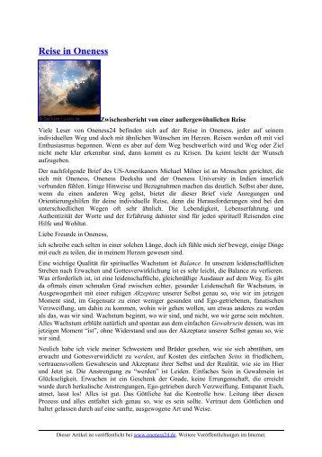 Reise in Oneness - Oneness 24