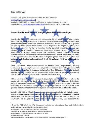 Transatlantik banka krizi – Yeni bir ekonomik buhrana dogru - EIIW