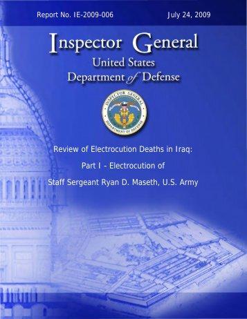 Draft Electrocution Report - DoD Inspector General