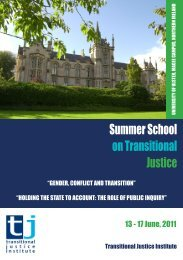 2011 summer school - Transitional Justice Institute - University of ...