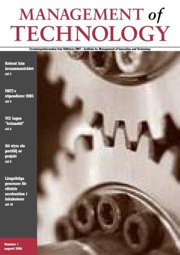Nummer , augusti 2006 - Stiftelsen IMIT