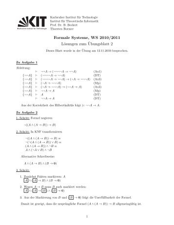 Formale Systeme, WS 2010/2011 Lösungen zum ¨Ubungsblatt 2