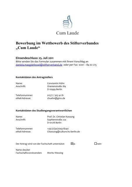Cum Laude Bewerbung Der Hu Berlin Kulturwissenschaft Pdf