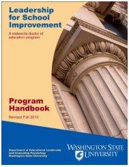 Leadership for School Improvement - WSU Vancouver College of ...