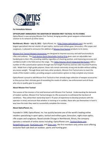 OpticsPlanet Announces the Addition of Mission ... - OpticsPlanet.com
