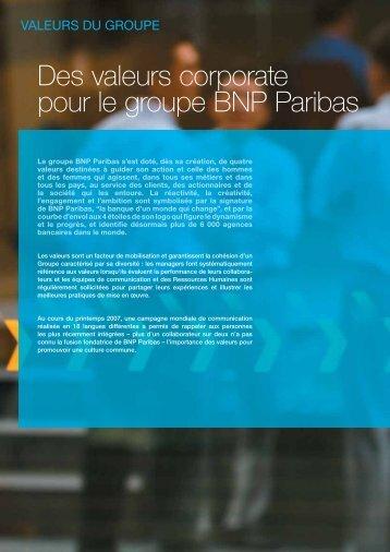 Des valeurs corporate pour le groupe BNP Paribas