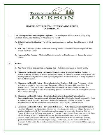 minutes of the special town board meeting ... - Town of Jackson