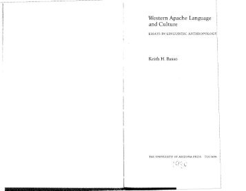 western apache language and culture essays in linguistic anthropology Western apache language and culture: essays in linguistic anthropology by keith h basso university of arizona press paperback good spine creases, wear to binding and pages from reading.