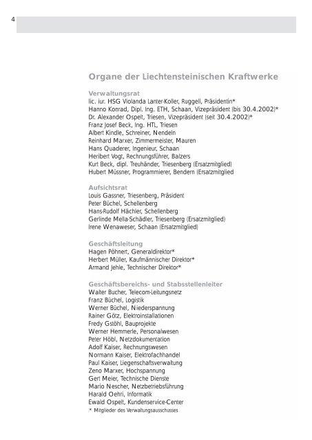 Liechtensteinische Kraftwerke Geschäftsbericht 2002