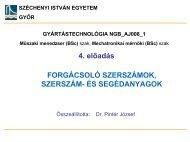 Hűtés-kenés, hűtő-kenő anyagok - Széchenyi István Egyetem