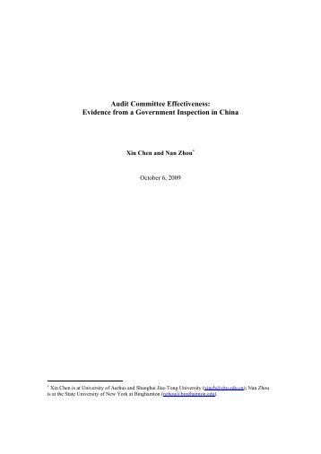Audit Committee Effectiveness: Evidence from a Government ...