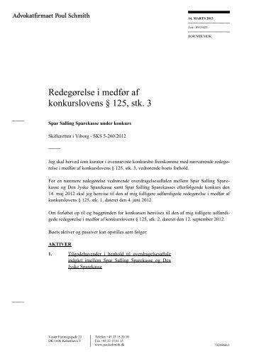 Redegørelse i medfør af konkurslovens § 125, stk. 3 - Den Jyske ...