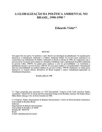a globalização da política ambiental no brasil, 1990-1998