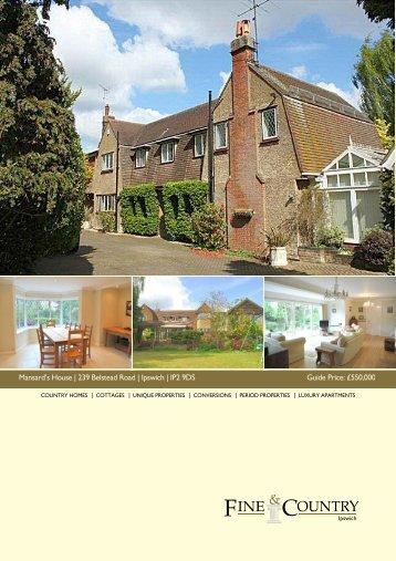 Mansard's House | 239 Belstead Road | Ipswich ... - Fine & Country