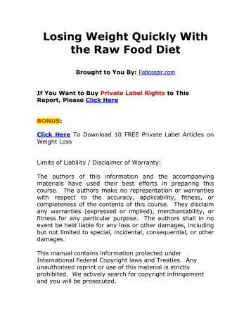 Losing Weight Quickly With the Raw Food Diet (PDF)