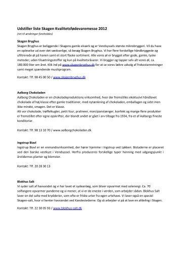 Udstiller liste Skagen Kvalitetsfødevaremesse 2012