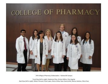 1PD College of Pharmacy Ambassadors - Gainesville Campus Front ...