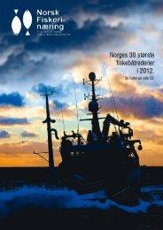 Norges 30 største fiskebåtrederier i 2012. - Norsk Fiskerinæring