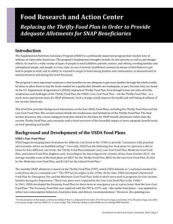 Appendix C Usdas Thrifty Food Plan Economic Research Service