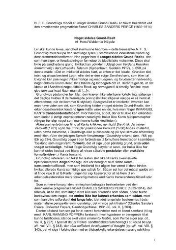 N. F. S. Grundtvigs model af »noget aldeles Grund-Realt« er blevet ...