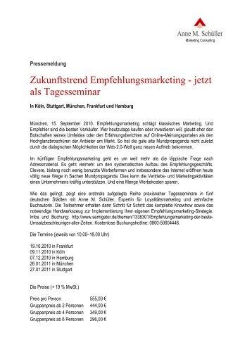Zukunftstrend Empfehlungsmarketing - jetzt als ... - Anne M. Schüller