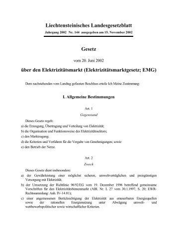 Liechtensteinisches Landesgesetzblatt - EMG