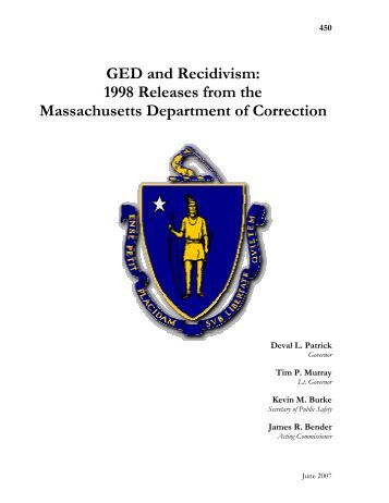 GED and Recidivism: 1998 Releases from the Massachusetts ...