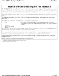 Notice of Public Hearing on Tax Increase