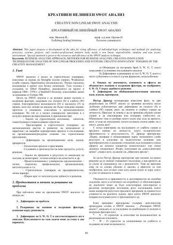 КРЕАТИВЕН НЕЛИНЕЕН SWOT АНАЛИЗ