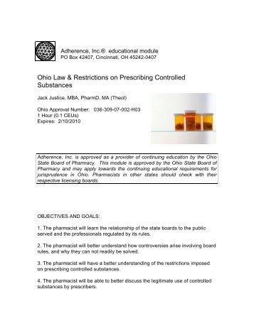Ohio Law & Restrictions on Prescribing Controlled ... - Fuse.net
