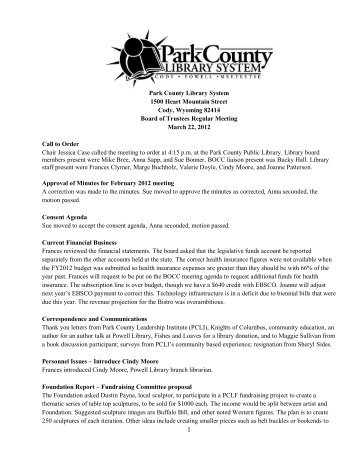 March 2012 Board Meeting Minutes - Park County Library System