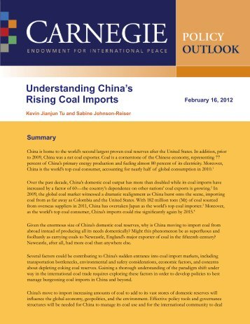 Understanding China's Rising Coal Imports - Carnegie Endowment ...