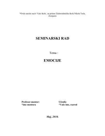 SEMINARSKI RAD EMOCIJE - Seminarski Maturski Diplomski Radovi