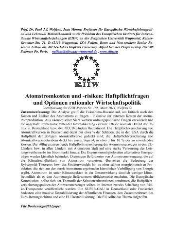 Atomstromkosten und -risiken: Haftpflichtfragen und Optionen ... - EIIW
