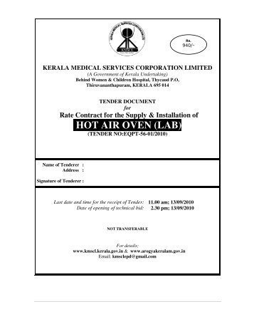 HOT AIR OVEN (LAB) - Kerala Medical Services Corporation ...