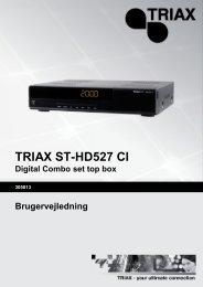TRIAX ST-HD527 CI Digital Combo set top box Brugervejledning