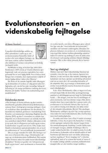Evolutionsteorien – en videnskabelig fejltagelse - Skabelse.dk