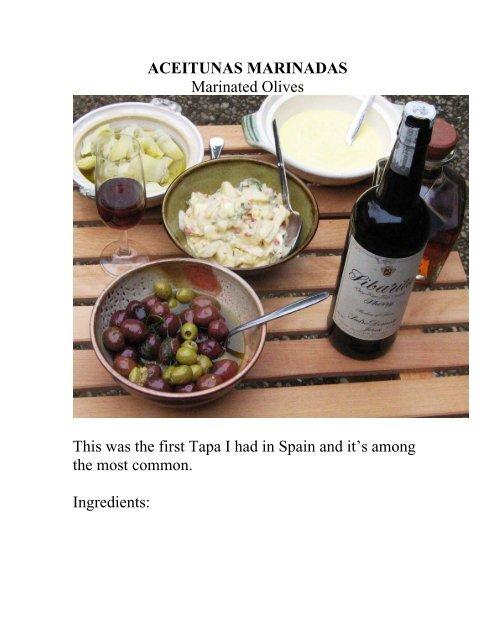 ACEITUNAS MARINADAS Marinated Olives - The Geriatric Gourmet