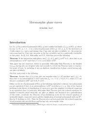 Meromorphic plane curves - Université d'Angers