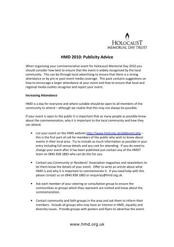 HMD 2010: Publicity Advice - Holocaust Memorial Day Trust