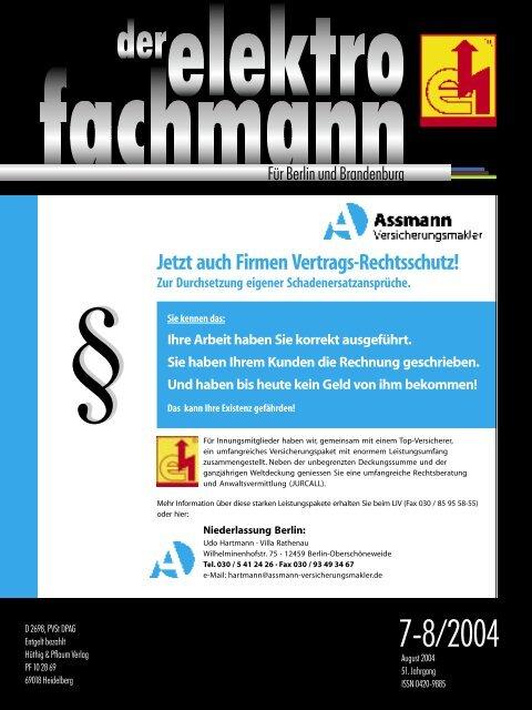 Jetzt auch Firmen Vertrags-Rechtsschutz! - Elektro-Innung Berlin