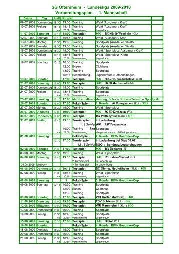 Landesliga 2009-2010 Vorbereitungsplan - 1. Mannschaft