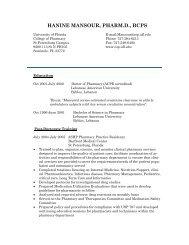 hanine mansour, pharm.d., bcps - College of Pharmacy - University ...