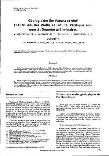 Géologie des îles Futuna et Alofi - Géologie de la France