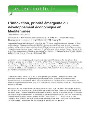 L'innovation, priorité émergente du développement ... - CMI
