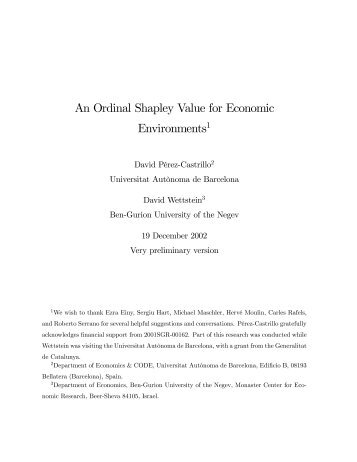 An Ordinal Shapley Value for Economic Environments