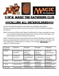 U of M Magic the gathering CLUB !!!!CALLING ALL ... - Libsyn